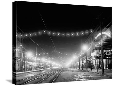 Niagara Falls, N.Y. Falls Street at Night--Stretched Canvas Print