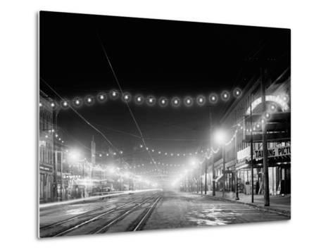 Niagara Falls, N.Y. Falls Street at Night--Metal Print