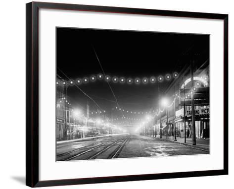 Niagara Falls, N.Y. Falls Street at Night--Framed Art Print
