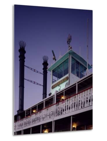 Mississippi River Steamboat Smokestacks and Bridge-Carol Highsmith-Metal Print