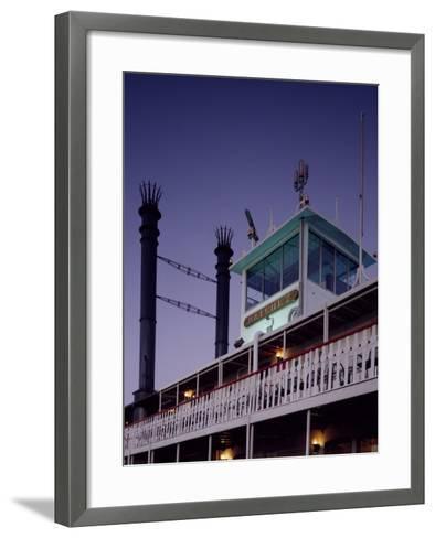 Mississippi River Steamboat Smokestacks and Bridge-Carol Highsmith-Framed Art Print