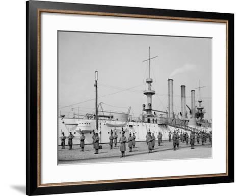 U.S.S. Brooklyn, Marine Guard Signal Drill--Framed Art Print
