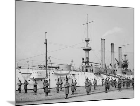 U.S.S. Brooklyn, Marine Guard Signal Drill--Mounted Photo