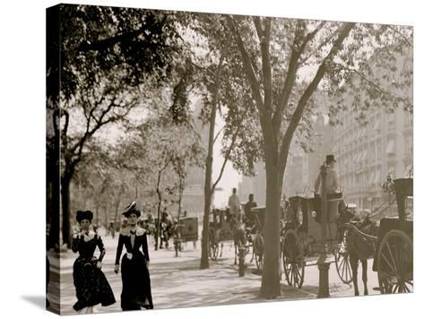 Cab Stand at Madison Square, New York--Stretched Canvas Print