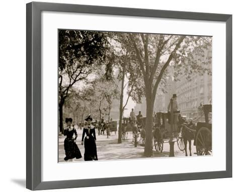 Cab Stand at Madison Square, New York--Framed Art Print