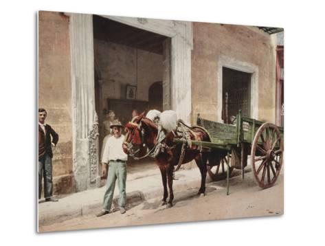 A Mule Cart in Havana Led by a Vendor-William Henry Jackson-Metal Print