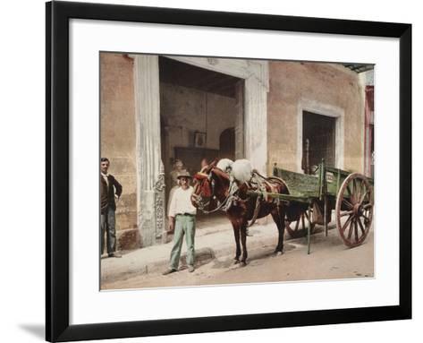 A Mule Cart in Havana Led by a Vendor-William Henry Jackson-Framed Art Print