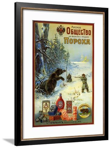 Russian Society for Productin of Gunpowder - Hunting Bears in Siberia--Framed Art Print