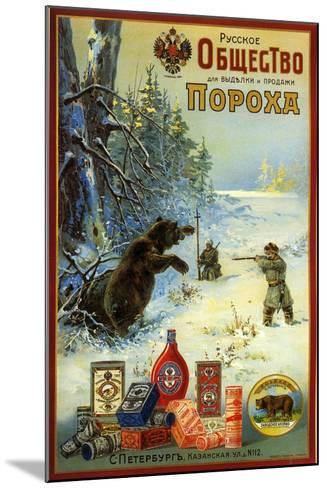 Russian Society for Productin of Gunpowder - Hunting Bears in Siberia--Mounted Art Print