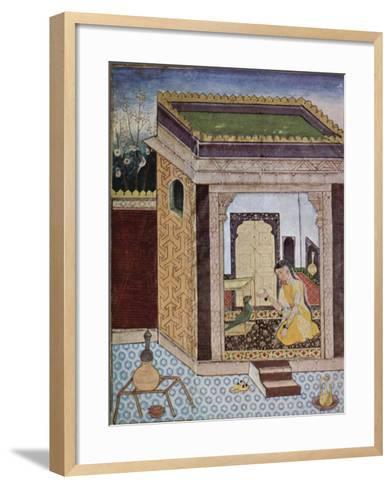 Girl with a Parrot--Framed Art Print