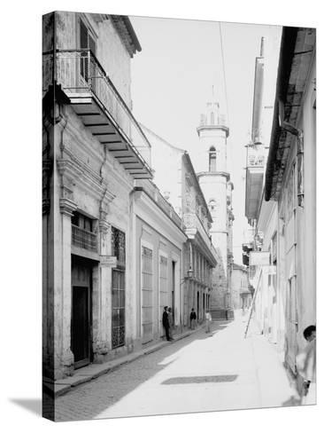 Calle Emperador and Cathedral, Havana, Cuba--Stretched Canvas Print