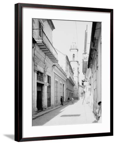 Calle Emperador and Cathedral, Havana, Cuba--Framed Art Print