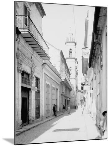 Calle Emperador and Cathedral, Havana, Cuba--Mounted Photo