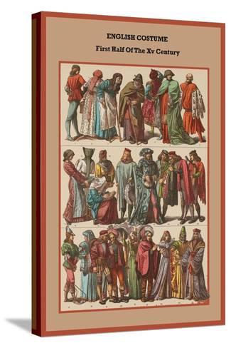 English Costume First Half of the XV Century-Friedrich Hottenroth-Stretched Canvas Print