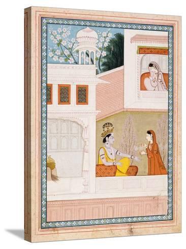 Krishna Talks to Radha's Maidservant--Stretched Canvas Print