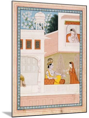 Krishna Talks to Radha's Maidservant--Mounted Art Print