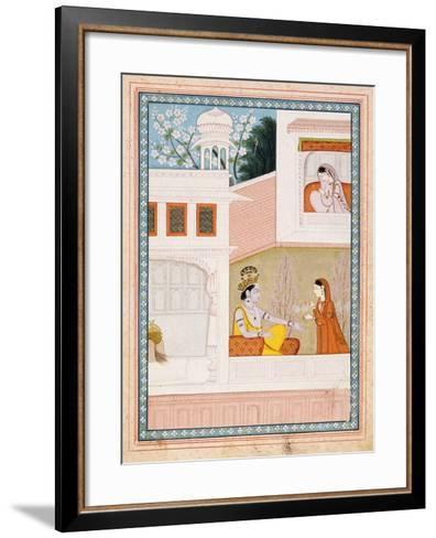 Krishna Talks to Radha's Maidservant--Framed Art Print