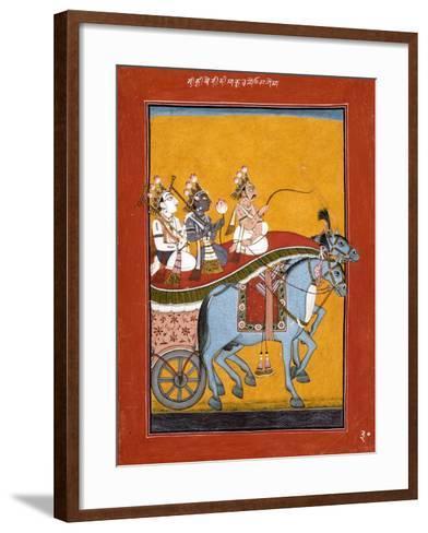 Krishna and Balarama Being Driven by Akrura to Mathura--Framed Art Print