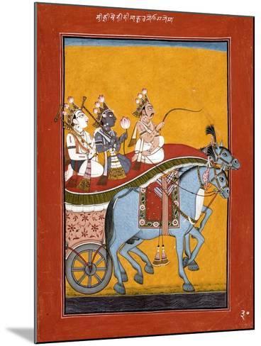 Krishna and Balarama Being Driven by Akrura to Mathura--Mounted Art Print