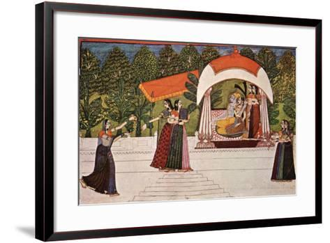 Krishna and Radha in a Pavilion--Framed Art Print