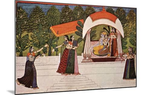 Krishna and Radha in a Pavilion--Mounted Art Print