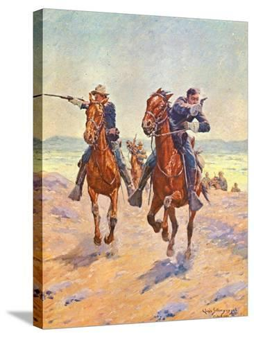 Troopers in Pursuit-Charles Shreyvogel-Stretched Canvas Print