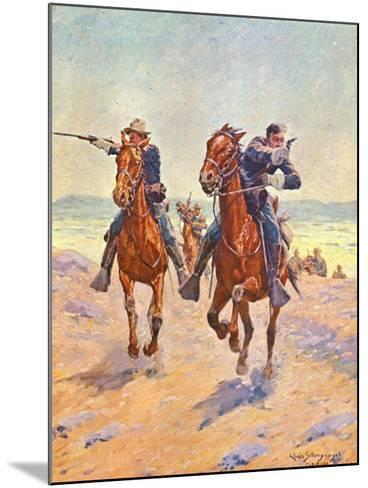 Troopers in Pursuit-Charles Shreyvogel-Mounted Art Print