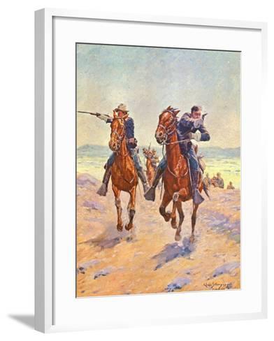 Troopers in Pursuit-Charles Shreyvogel-Framed Art Print
