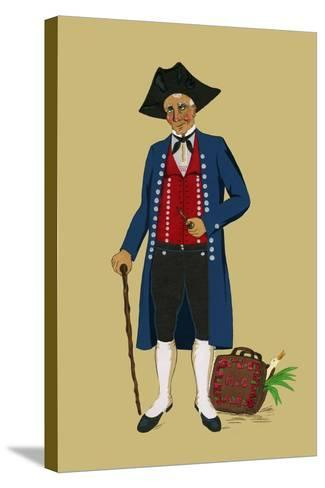 Alsacian Man from Saverne with Pipe, Tri-Cornered Hat and Wears Britches-Elizabeth Whitney Moffat-Stretched Canvas Print