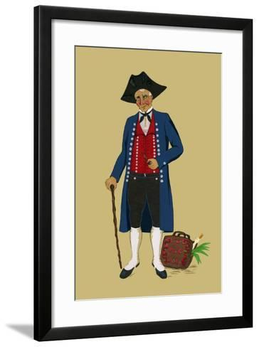 Alsacian Man from Saverne with Pipe, Tri-Cornered Hat and Wears Britches-Elizabeth Whitney Moffat-Framed Art Print