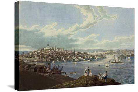 View of the City of Boston from Dorchester Heights-Robert Havell-Stretched Canvas Print