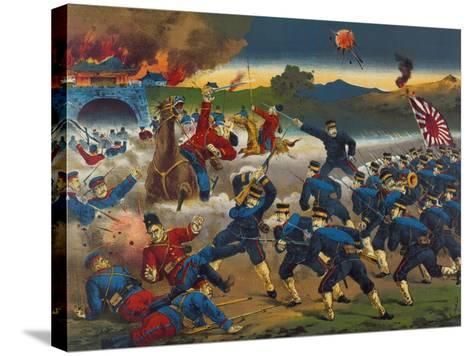 Japanese Soldiers Overrun Russians at Chin-Chou--Stretched Canvas Print