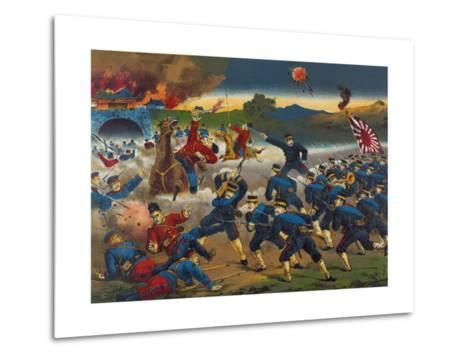 Japanese Soldiers Overrun Russians at Chin-Chou--Metal Print