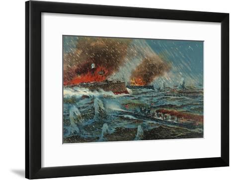 Japanese Torpedo Russian Ships--Framed Art Print