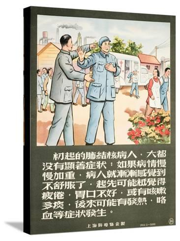 A Communist Party Member Encourages a Man to Get an X-Ray--Stretched Canvas Print