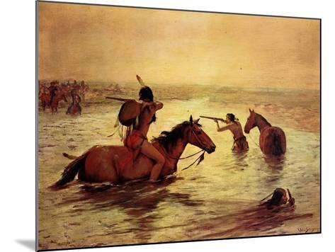 In Retreat across a Stream-Charles Shreyvogel-Mounted Art Print
