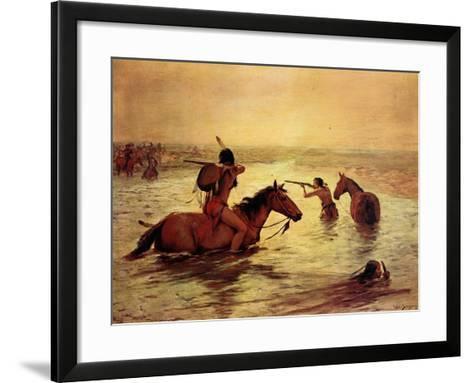 In Retreat across a Stream-Charles Shreyvogel-Framed Art Print
