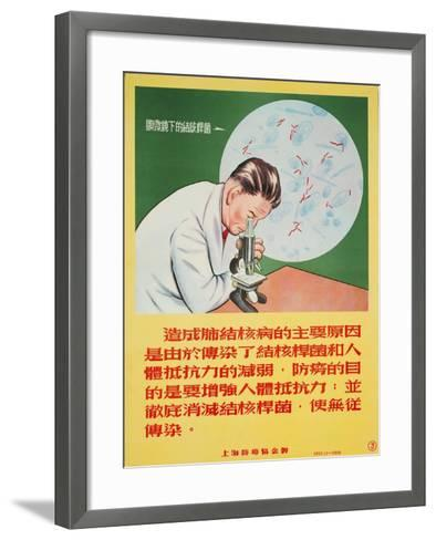 A Doctor Looks into a Microscope of Mycobacterium Tuberculosis--Framed Art Print