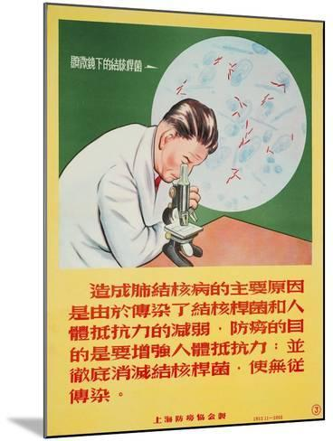 A Doctor Looks into a Microscope of Mycobacterium Tuberculosis--Mounted Art Print