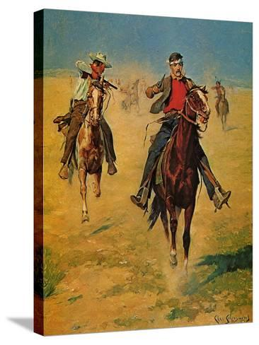 Pursuit or the Attack-Charles Shreyvogel-Stretched Canvas Print