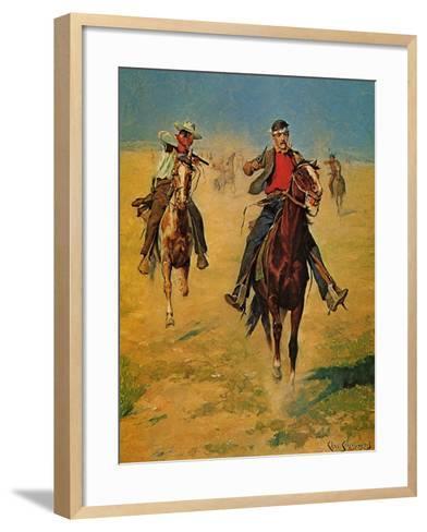 Pursuit or the Attack-Charles Shreyvogel-Framed Art Print