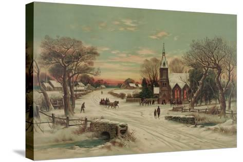 Going to Church, Christmas Eve- J. Hoover & Son-Stretched Canvas Print