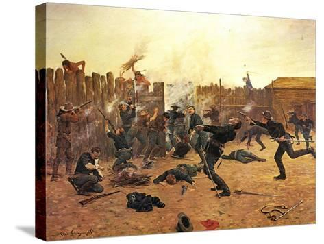 Defending the Stockade-Charles Shreyvogel-Stretched Canvas Print