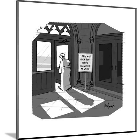 The Pope visits New York City. - Cartoon-Kaamran Hafeez-Mounted Premium Giclee Print