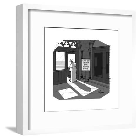 The Pope visits New York City. - Cartoon-Kaamran Hafeez-Framed Art Print