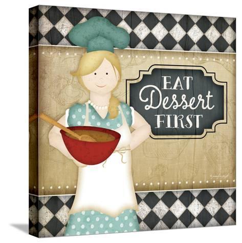 Bistro Chef Dessert-Jennifer Pugh-Stretched Canvas Print