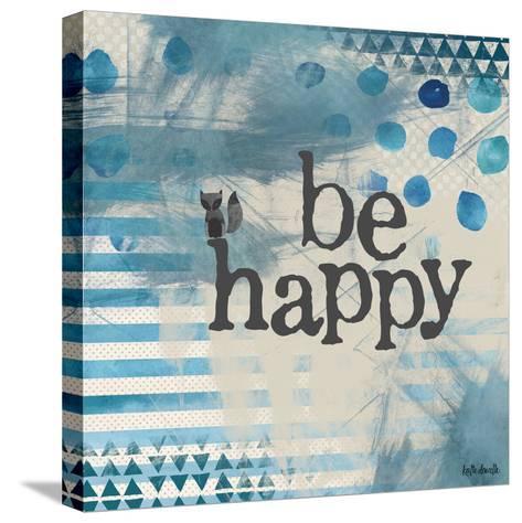 Be Happy Blue-Katie Doucette-Stretched Canvas Print