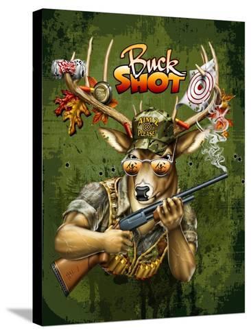 Deer Buck Shot-Jim Baldwin-Stretched Canvas Print