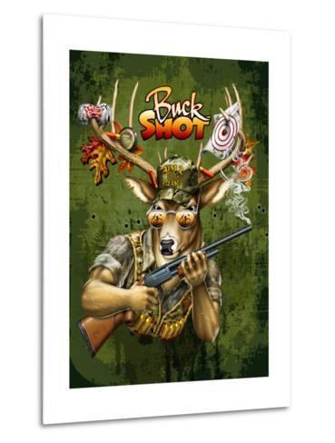 Deer Buck Shot-Jim Baldwin-Metal Print