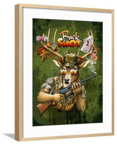 Deer Buck Shot-Jim Baldwin-Framed Art Print